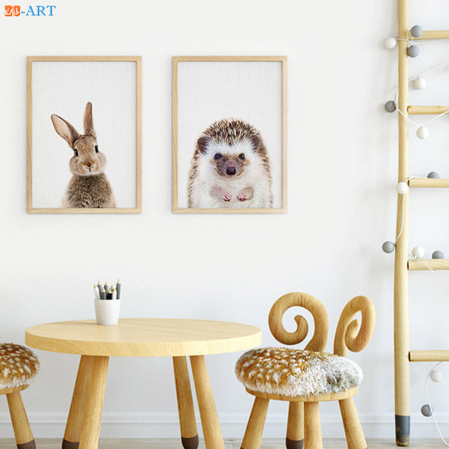 Modern Rabbit Hedgehog Prints Woodland Animal Wall Art Nursery Decor Kaboo Picture Large Canvas Painting