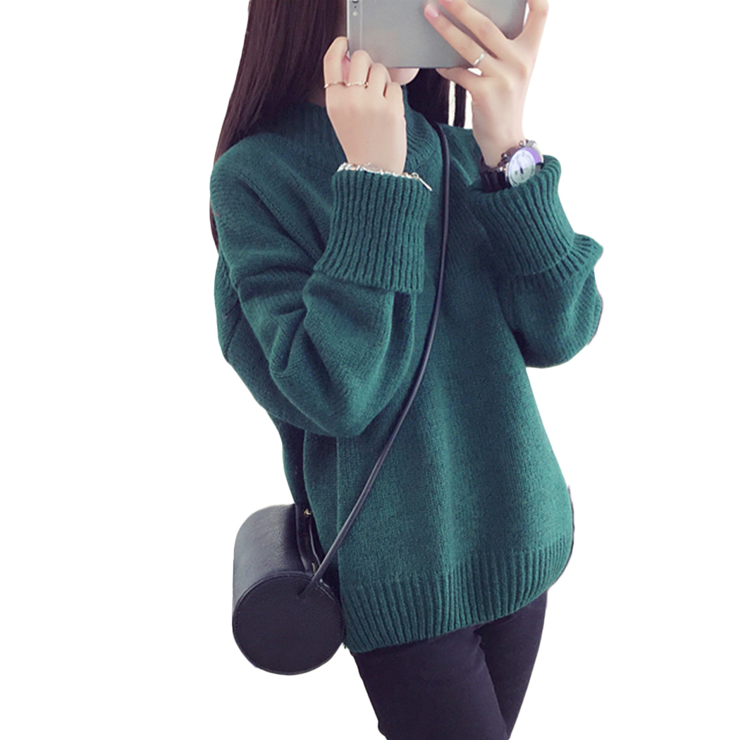 New Fashion Solid Color Wild Basic Sweater Pullover Women Long Sleeve Loose Knitted Turtleneck Sweater Autumn Warm Jumper Female