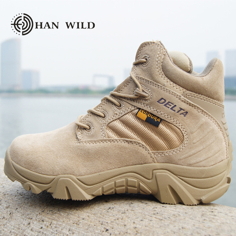 HAN WILD 2018 Spring Men Military Boots Genuine Cow Leather Waterproof Tactical Desert Combat Ankle Boot Men's Army Work Shoes men s desert military boots touch guy cow suede genuine leather ankle martin boot