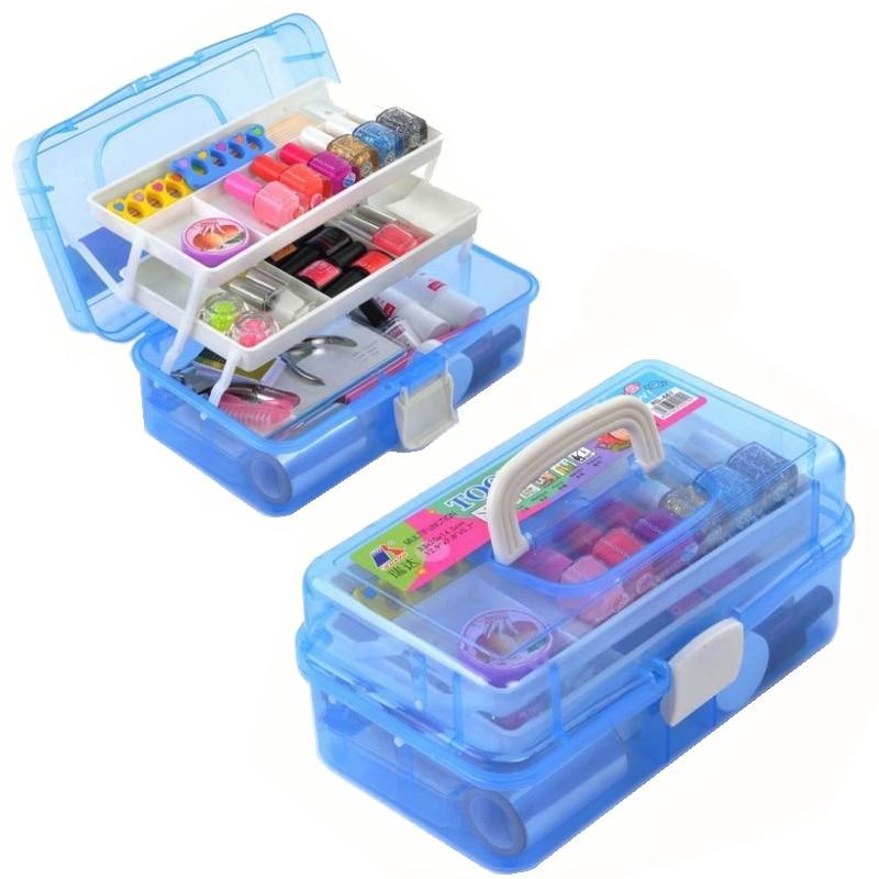 Storage Box 3 Layer Multi Utility Storage Case Professional Nail Art box manicure kit  tnail tool Makeup Box large size Blue