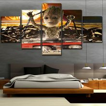 One Set Modular Picture Decor Frame 5 Panel Baby Groot Painting Movie Guardians Of The Galaxy Vol 2 Poster Wall Art Home Decor(China)