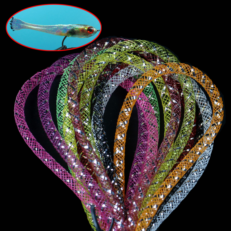 Adaptable 2m/pack Holographic Tinsel Mylar Piping Mesh Tube Braid Tube Fly Tying Minnow Body Flash Material 4mm/8mm Fishing Lures Sports & Entertainment