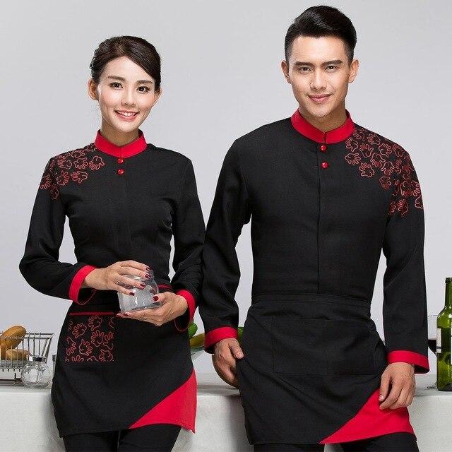 f6d43e67979 Long Sleeve Man Chef Jacket Black Food Uniform Restaurant Clothing Jacket  Cafe Hotel Hotpot Waitress Uniform Work Outfit 89