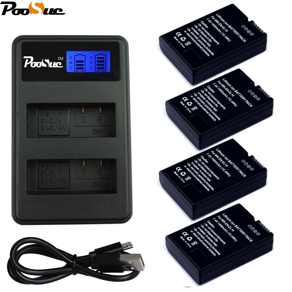 4x EN-EL14 EN EL14 EN EL14a Batterie + USB LED Double Chargeur pour Nikon D3100 D3200 D5100 D5200 DF P7000 P7100 P7200 P7700 P7800