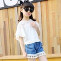 Hot Sale New Girl Clothes Summer Kids Active Sets t-shirt+shorts Suit Regular Sport Solid White Cotton Clothing Birthday Present
