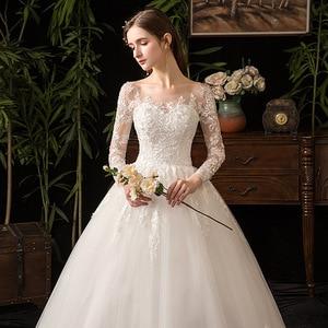 Image 2 - 2019 New Elegant O Neck Full Sleeve Wedding Dress Illusion Lace Embroidery Simple Custom Made Bridal Gown Vestido De Noiva L