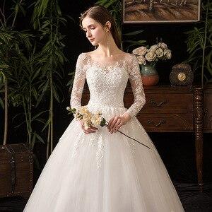Image 2 - 2021 새로운 우아한 O 목 풀 슬리브 웨딩 드레스 환상 레이스 자 수 간단한 사용자 정의 만든 된 신부 가운 Vestido De Noiva L