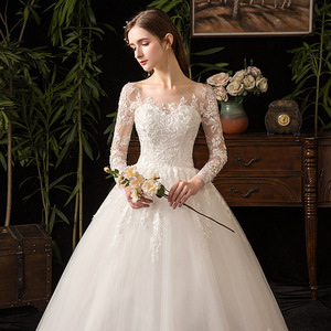 Image 2 - 2021 nouveau élégant O cou manches longues robe De mariée Illusion dentelle broderie Simple sur mesure robe De mariée Vestido De Noiva L