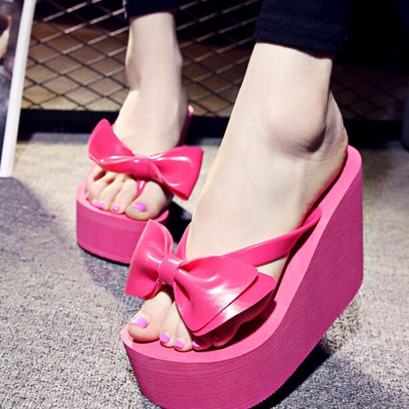 Playa 2017 rosado Moda Con De Zapatos Mujeres Alta Del Arco S245 rojo Negro Calidad Mujer blanco Plataforma Las Zapatillas Verano Sandalias UUrnd7qw