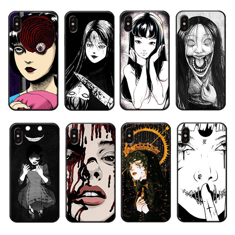 Japanese Horror Anime Phone Cover for iPhone 6 6s 7 8 Plus X XR XS Max Soft TPU Japan Phone Case Silicone Luxury PhoneCases in Fitted Cases from Cellphones Telecommunications