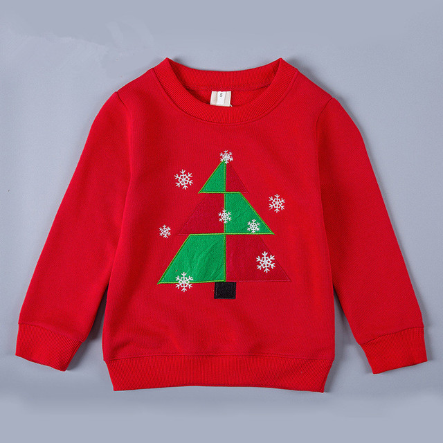 New fall baby girls red t shirt printed christmas tree kids tops clothing long sleeve hoodies,next clothing style for 3-10T