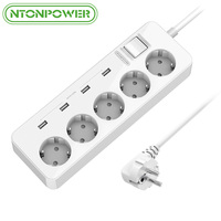 NTONPOWER MPS USB Extension Socket EU Plug Power Outlet 5 AC Surge Protector Overload Protection with 4 USB Smart Charging Ports