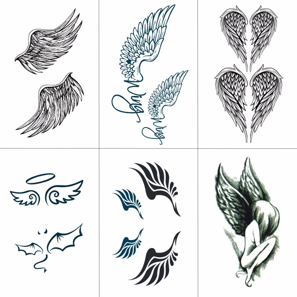 HXMAN Wing Temporary Tattoos Waterproof Women Fashion Fake Body Art Tattoo Sticker Girl Kids Hand Tatoo Paper 10.5X6cm B-031