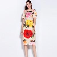 2017 New Spring Elegant Print Flowers Women Dress Casual Short Sleeve Net yarn Patchwork Knee-Length Slim Female A-Line Vestido
