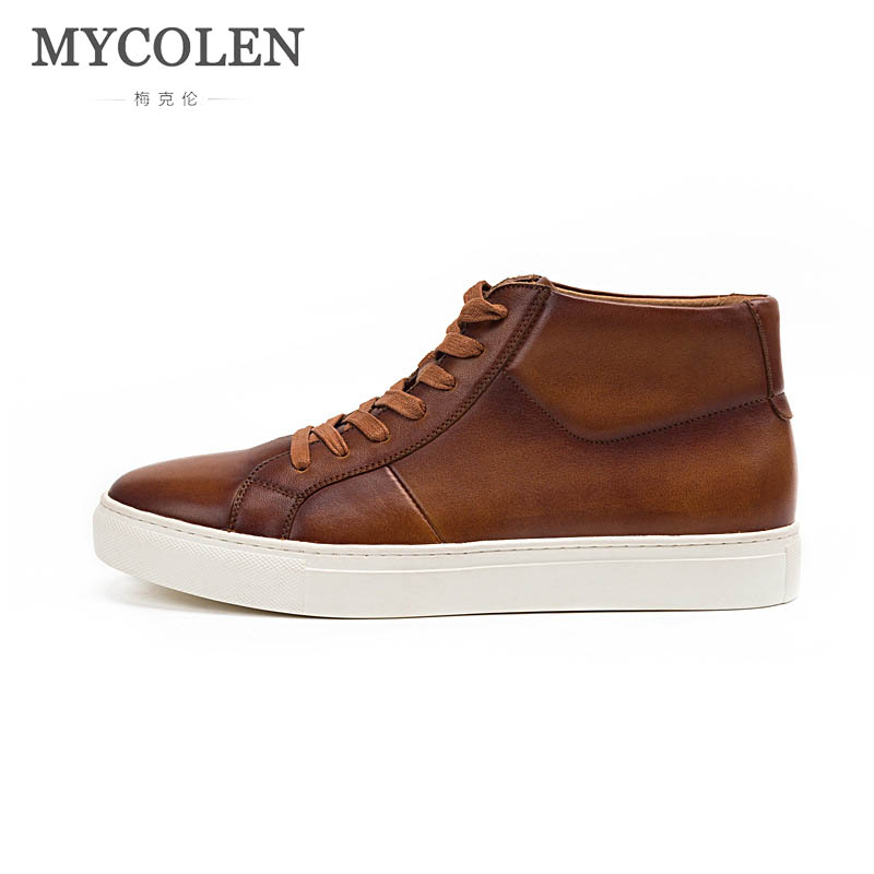 MYCOLEN Hot 2018 Spring Autumn Lace-Up Men'S Luxury Fashion Shoes Man Lace-Up Casual Winter Fashion Leather Shoes Mens Flats hot 2018 lace up men s canvas shoes big size man buckle casual ankle boots winter fashion leather shoes mens flats