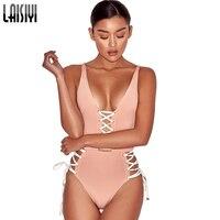 LAISIYI Band Mouwloze Bodysuit Vrouwen Beach Body Top Effen Korte Jumpsuit Skinny Romper Sexy Lace Up Overalls Zomer ASJU50070