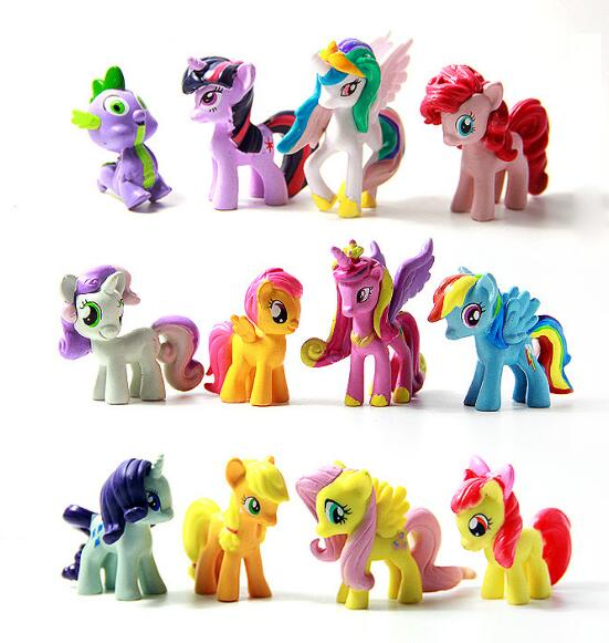 12Pcs/lot  Unicorn Colored Horsel  Action Toy Figures Christmas Little Gift