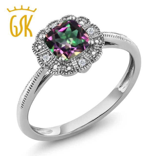 Gemstoneking genuino cojín verde natural mystic topaz 18 k oro blanco y diamante art deco anillo de compromiso para las mujeres
