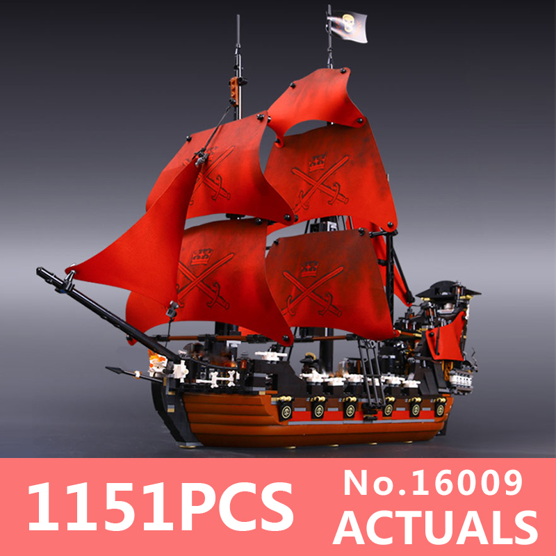 Free shipping New Lepin 16009 1151pcs Queen Anne's revenge Building Blocks Set Bricks LegoINGlys 4195 for Children DIY gift lepin 16009 caribbean blackbeard queen anne s revenge mini bricks set sale pirates of the building blocks toys for kids gift