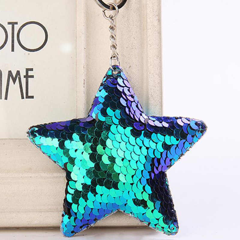 Cute Chaveiro Star Keychain Glitter Pompom Sequins Key Chain Gifts for Women Llaveros Mujer Car Bag Accessories Key Ring