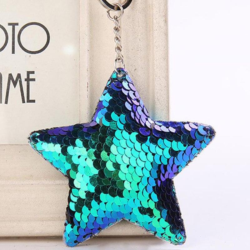 LLavero de estrella de Chaveiro lindo pompón lentejuelas llavero regalos para mujeres Llaveros Mujer bolso de coche accesorios llavero