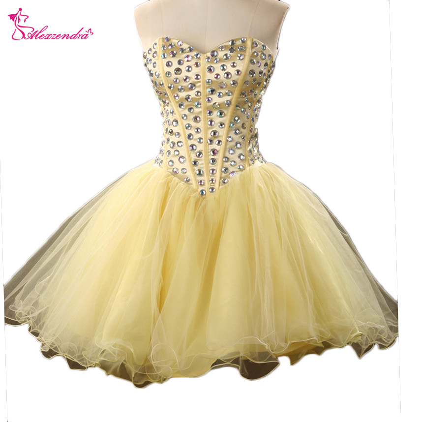 Alexzendra Yellow Organza Mini Beaded Bodice A Line   Prom     Dresses   Simple Party   Dresses   Plus Size