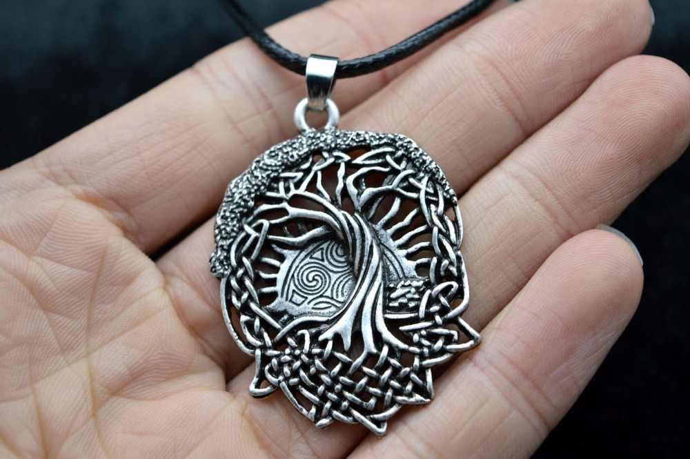 Vintage prata tom viking amuleto árvore da vida runas pingente colar de couro corda corrente colar colar colar colar colar colar colar jóias colar