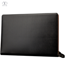 YINTE Men's Leather Folder Bag A4 Paper Document Black Leather File Folder Zipple Bag Men's Business File Bag Portfolio T5482