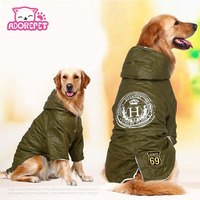 Army Green Winter Warm Big Large Dog Pet Clothes Hoodie Fleece Golden Retriever Dog Cotton Padded