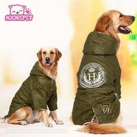 육군 녹색 겨울 따뜻한 큰 큰 개 애완 동물 옷 까마