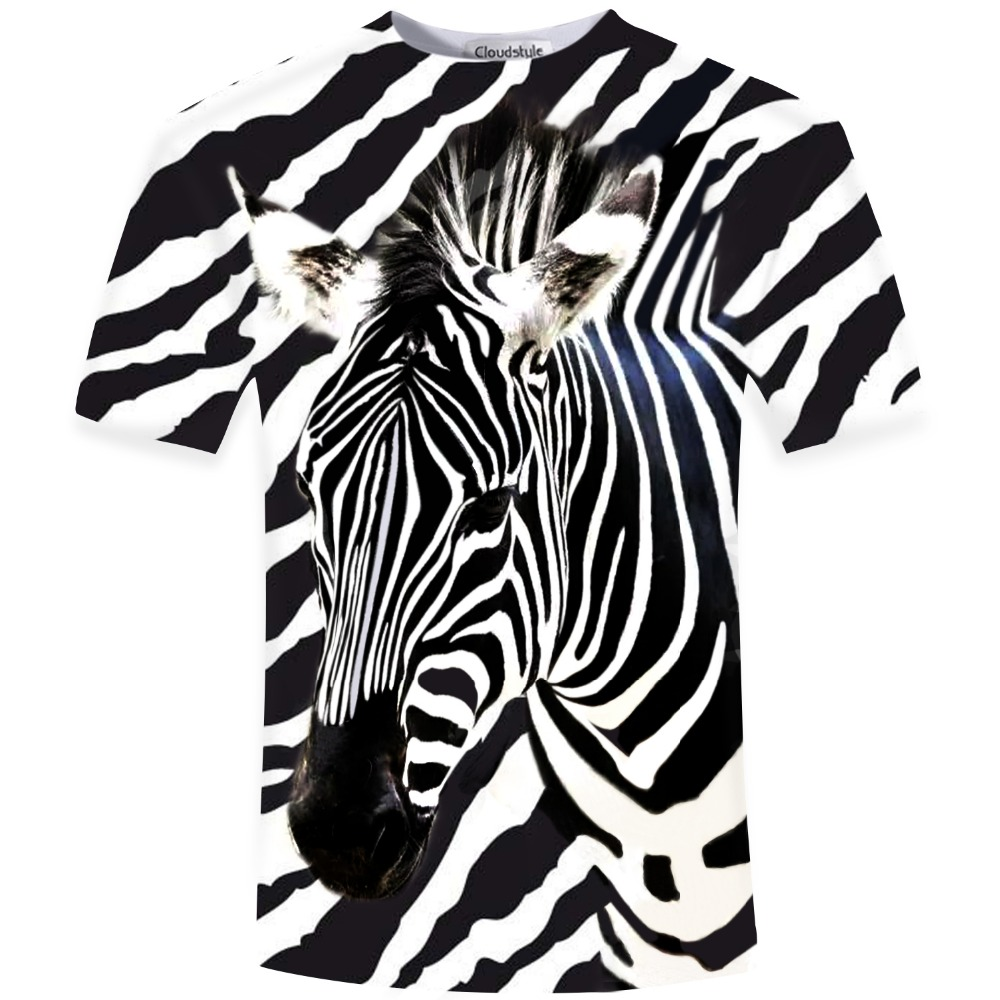 New Arrival 2017 Funny 3D T Shirt Men Zebra Printed Top