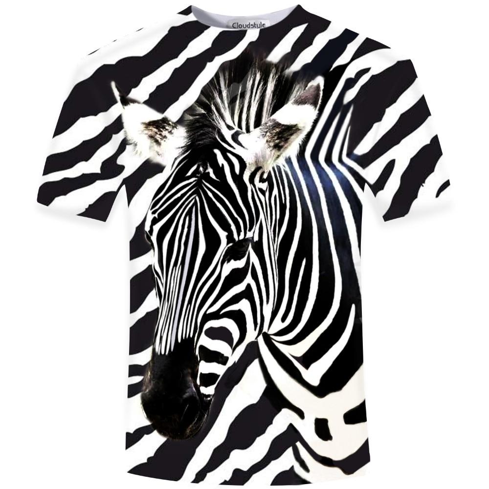 Baru Kedatangan 2018 Lucu 3D T Kemeja Pria zebra Dicetak Top Tees Kasual Man Slim Fit Lengan Pendek O Leher Pria Tee Tinggi kualitas