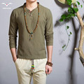 Hot new 2016 Fashion Mens Long Sleeve T-Shirt collar V all-match comfortable street style cotton linen