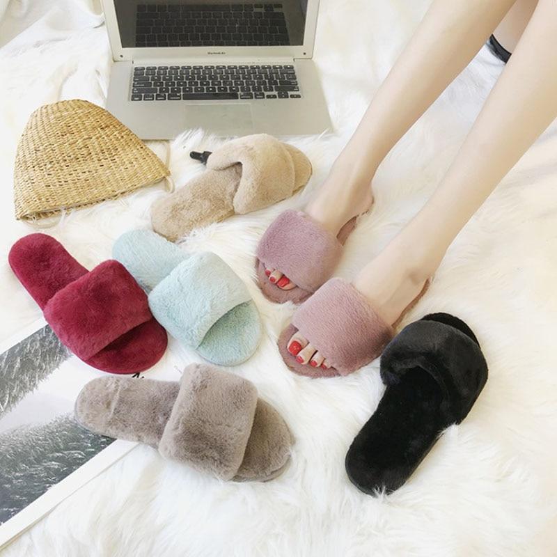 Faux Fur Slides for Women Slippers Fashion Spring Summer Autumn Plush Slippers Women Flip Flops Flat Shoes все цены