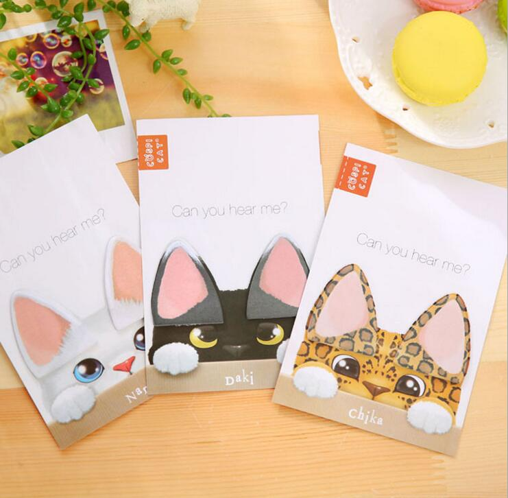 Lovely Cat Ear Schedule Marker Sticky Notes Self-Adhesive Memo Pad Daily Notepads #027 School Supply Bookmark Post it Label