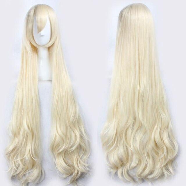 47 120 センチメートル波状ロングライトブロンド蜉蝣プロジェクトと結婚小桜 Mari 耐熱毛コスプレ衣装ウィッグ + 無料ウィッグキャップ