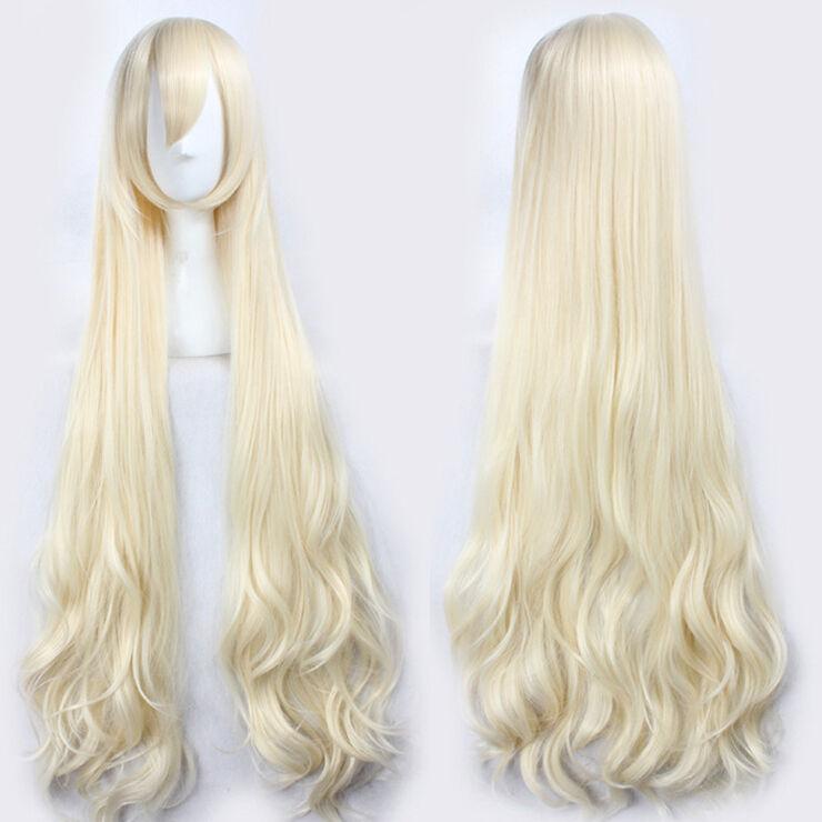 47'' 120cm Wavy Long Light Blonde Kagerou Project Marry Kozakura Mari Heat Resistant Hair Cosplay Costume Wigs + Free Wig Cap