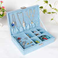 Jewelry Display Case Boxes High Grade Velvet Ring Earrings Organizer Ear Studs Jewelry Display Stand Holder Wooden For Gift