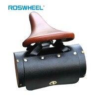 Roswheel Vintage Bike Bag Hand Sewn Retro Bicycle Bag Leather Wallet Male Women Saddle Bag Cycling