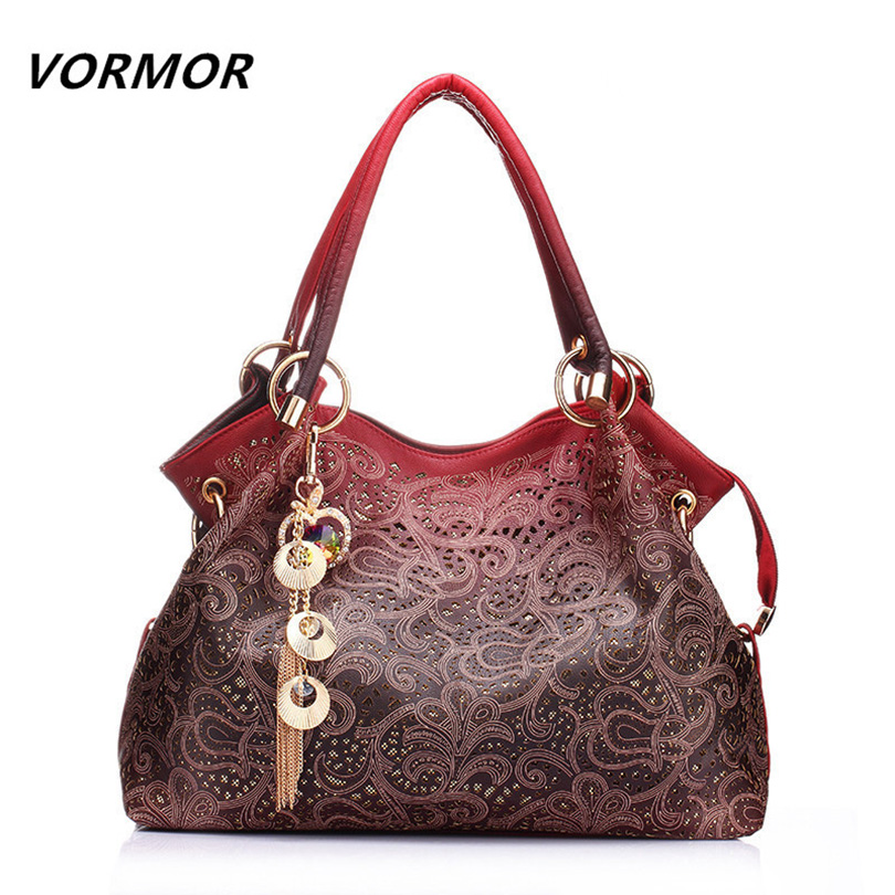 VORMOR Hollow Out Large Leather Tote Bag 2017 Luxury s