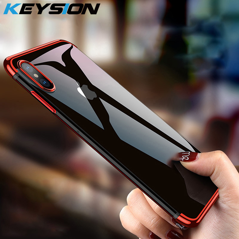 KEYSION Phone Case For IPhone XR XS Max X 8 7 Plus Case Clear Bumper TPU Silicone Plating