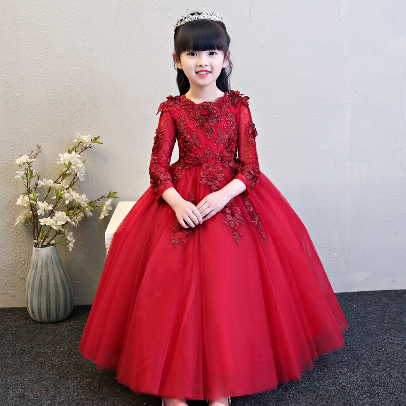 Children Girls luxury Wine-red Color Flowers Design Birthday Wedding Party Dress Kids Babies Model Show Costume Ball Gown Dress