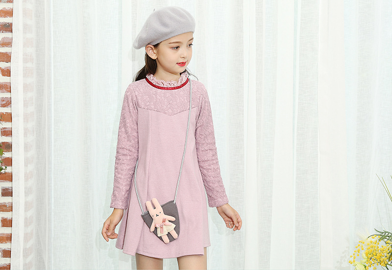 Весна Платье для девочек с длинными рукавами кружевные платья для маленьких детей осенняя одежда Свадебная/праздничная одежда 1aab512ds-48r