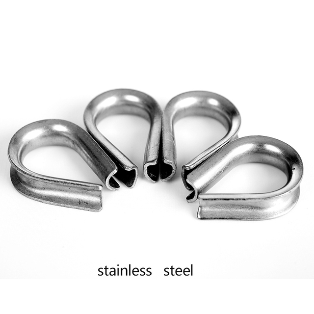 50pcs 1/8\'wire rope Heavy Duty Thimble Type 304 Stainless Steel M3 ...