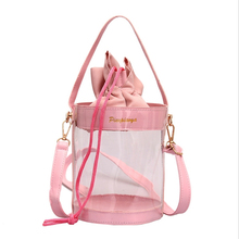 Women's Bag Transparent Jelly Package Cylinder Crossbody Bags For Women Fashion Drawstring Bucket Pouch Beach Handbags transparent bucket bag and pouch bag