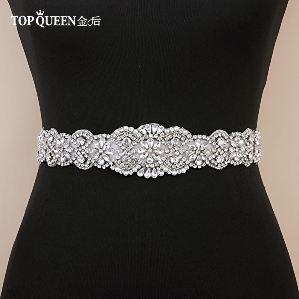 TOPQUEEN S161B Wedding Sash Beaded Rhinestone Belts Sashes Wedding Bridal Belt Crystal Formal Belt Women Party Dress Belt