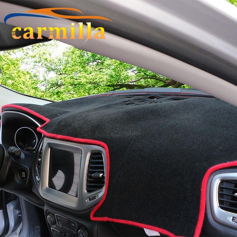 Carmilla Car Dashboard Polyster Filament Interior Sun Mat Keep Dark Mats For Jeep Compass 2nd Generation 2017 2018 LHD for mazda cx 5 cx5 2nd gen 2017 2018 interior custom car styling waterproof full set trunk cargo liner mats tray protector