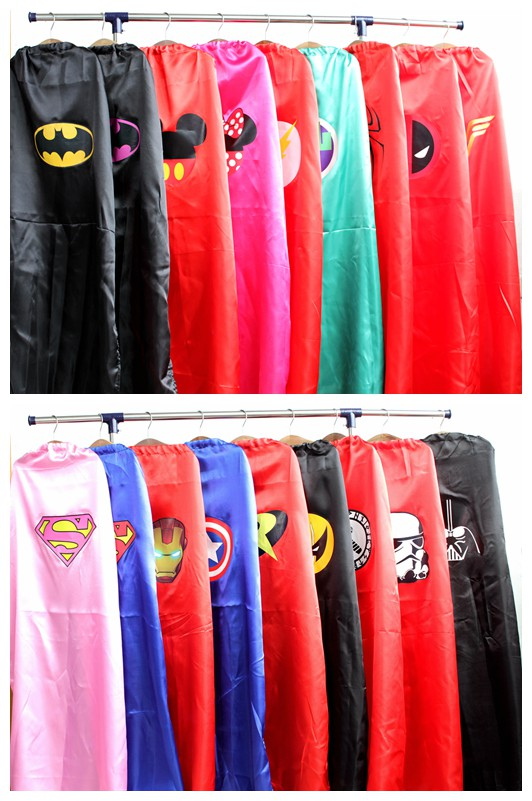 vuxen cape 1 cape + 1 mask superhero capes kostymer batman spiderman superman kvinnor cosplay kostym tillbehör party karneval