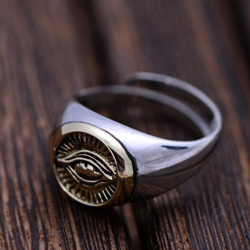 Real Solid 925 Sterling Silver Rings For Men And Women God Eye Opening Adjustable Rings Vintage Punk Fashion Jewelry