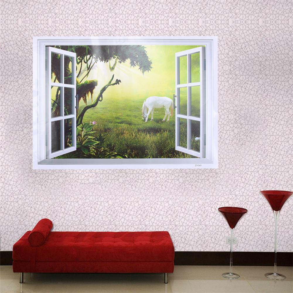 Horse sticker wall art - 1pcs 3d Window Tree Grassland Horse View Scenery Art Wall Stickers Home Decor Living Room Decals